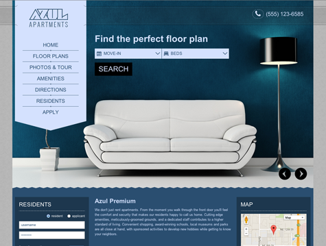 Azul Premium apartment website design