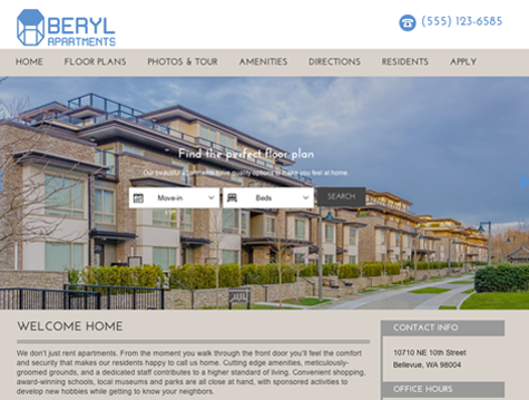 Beryl Premium apartment website design