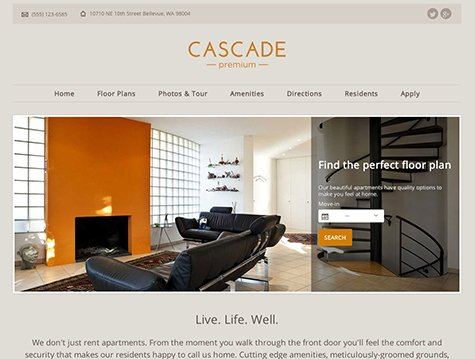 Cascade Premium apartment website design