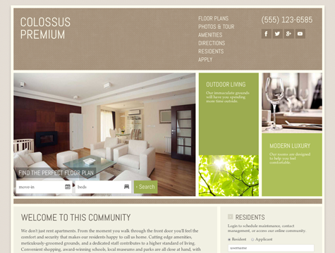 Colossus Premium apartment website design