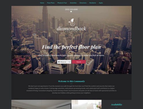 Diamondback Premium apartment website design