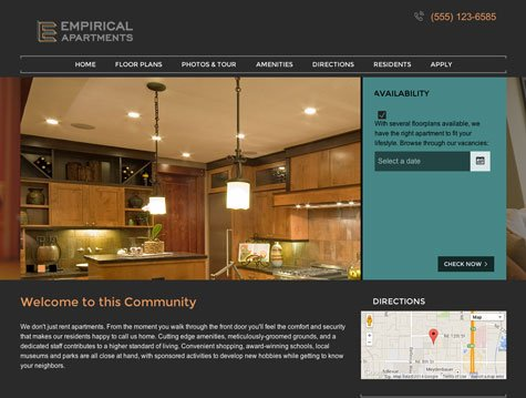 empirical premium apartment website design - Apartment Website Design