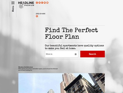Headline Premium apartment website design