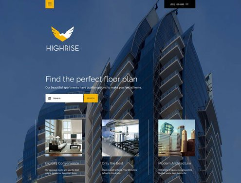 Highrise Premium apartment website design