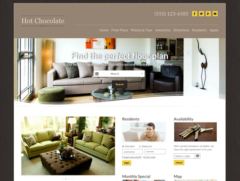 Hot Chocolate Premium apartment website design