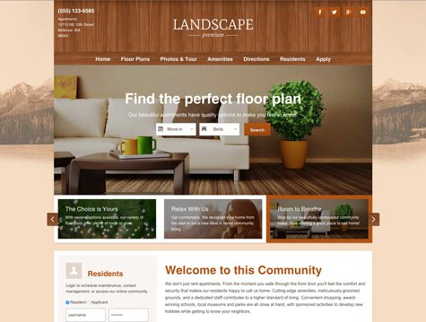 landscape premium apartment website design - Apartment Website Design