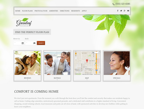 Leaves Premium apartment website design