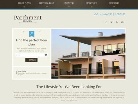 Parchment Premium apartment website design