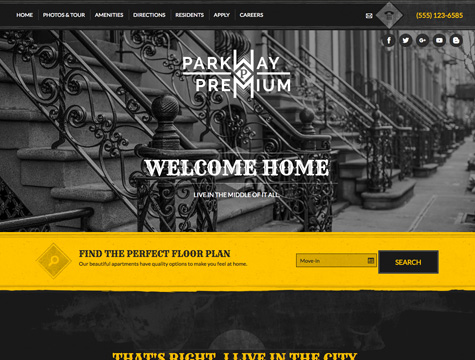 Parkway Premium apartment website design