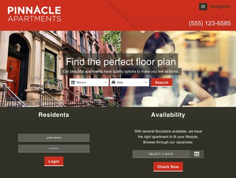 pinnacle premium apartment website design - Apartment Website Design