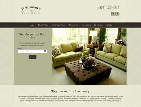 Primavera Premium apartment website design