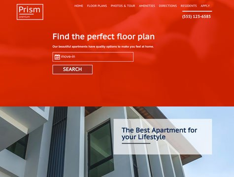 Prism Premium apartment website design