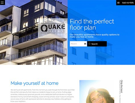 Quake Premium apartment website design