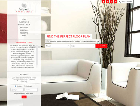 Sequoia Premium apartment website design