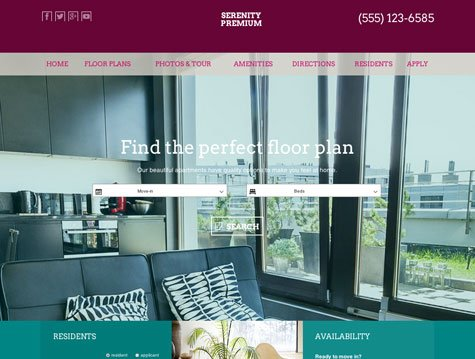 Serenity Premium apartment website design