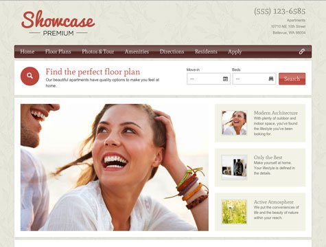 Showcase apartment website design
