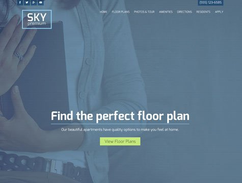 Sky Premium apartment website design