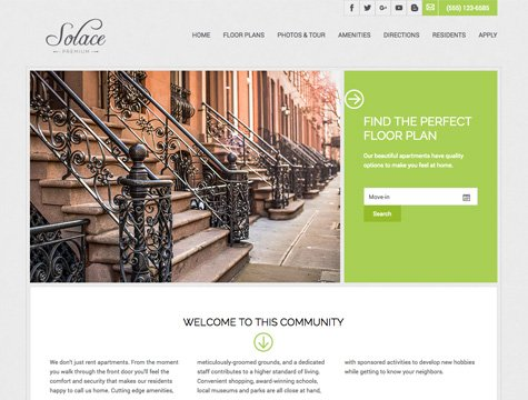 Solace Premium apartment website design