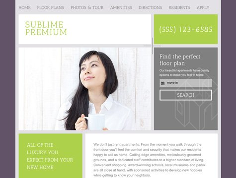 Sublime Premium apartment website design
