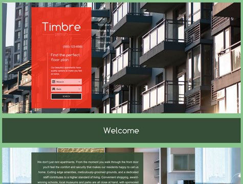 Timbre Premium apartment website design