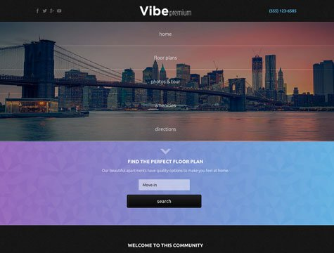 Vibe Premium apartment website design